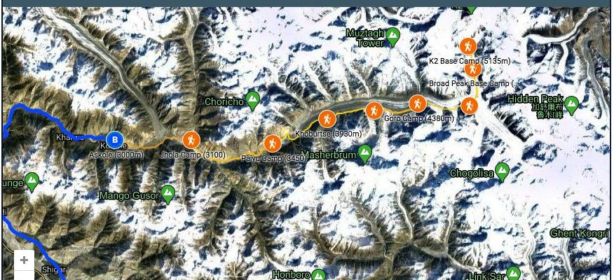 16 Map K2 Basecamp trek